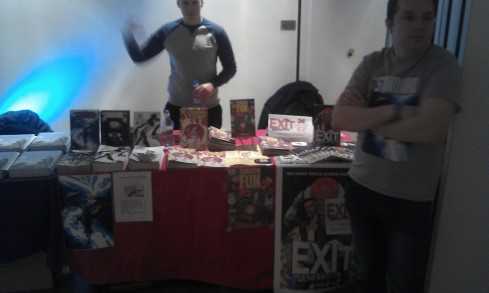 Messrs French (centre, reppin') & Lees (right, distracted) in front of our Thought Bubble table.
