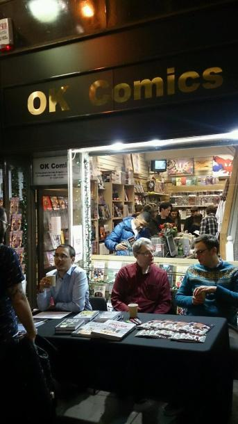 From Left-to-Right: James McKay, Darryl Cunningham & myself (Picture courtesy of Jared at OK Comics)